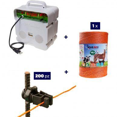 Gemi Elettronica Kit completo per recinto elettrico con Elettrificatore 220V + Filo 1000m + 200 isolatori per paletti in ferro GEMI KitRe-E220-2F-4mm1000