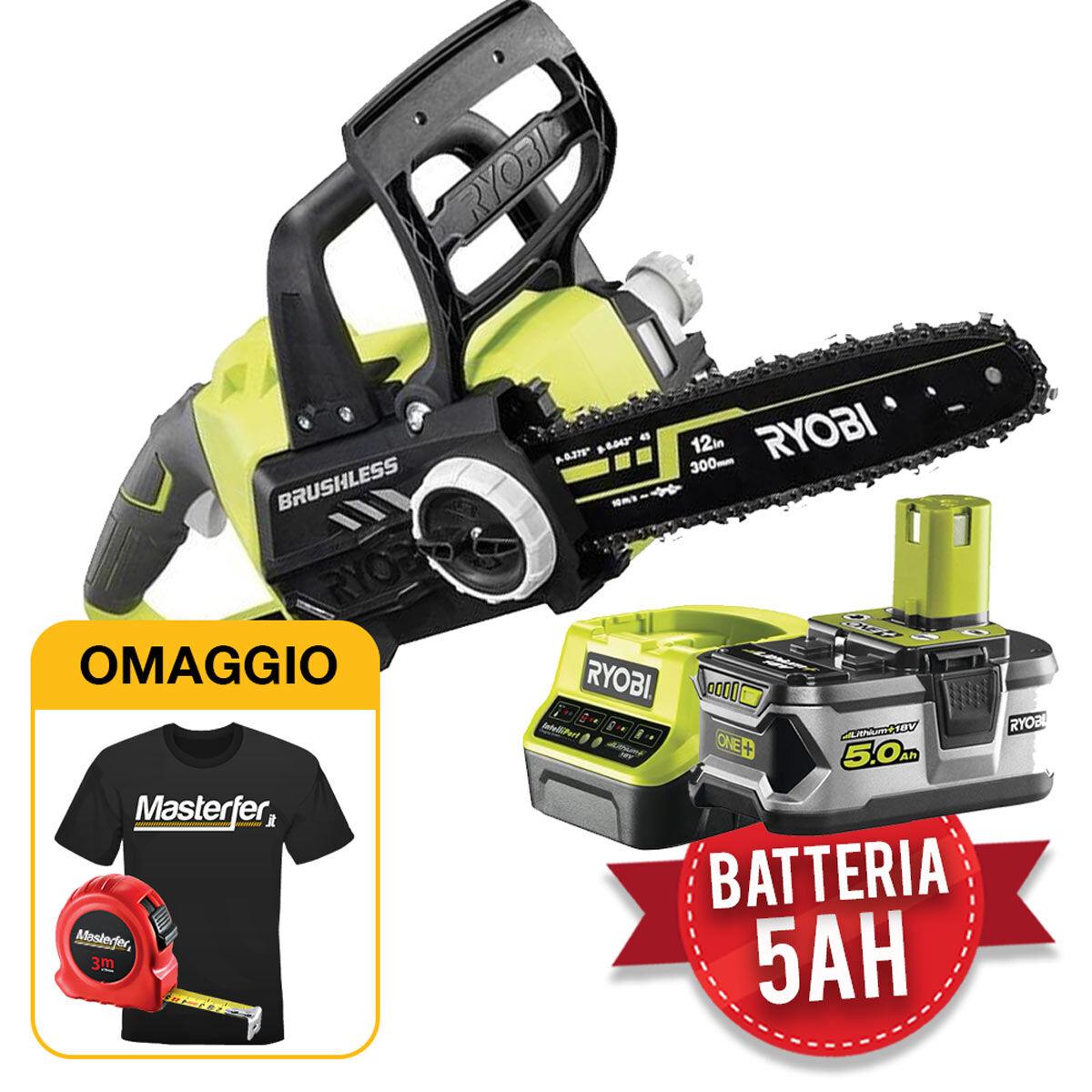 ryobi rcs18x3050f - elettrosega a batteria e motore brushless one+ 18v 1x5.0ah