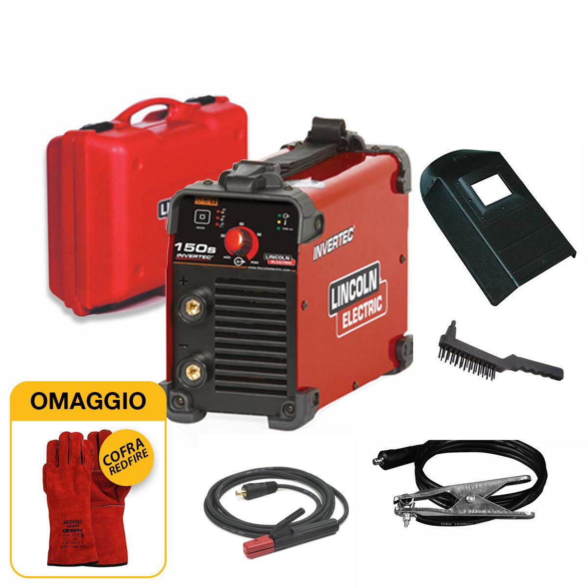 lincoln electric saldatrice inverter  invertec 150s (140 a) con kit completo pronta all'uso con omaggio