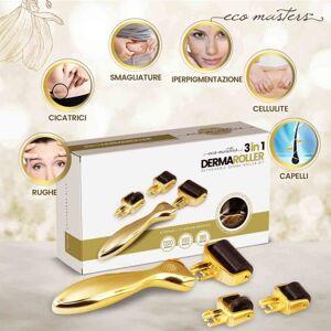 Dermaroller Viso - Derma Roller 3 in 1 con Testine Intercambiabili 540 micro aghi da 0.55 mm in titanio per diverse aree del viso e del corpo