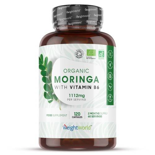 100% Capsule biologiche alla Moringa- Integratore naturale rigenerante - 120 Capsule, 1112 mg di concentrazione giornaliera