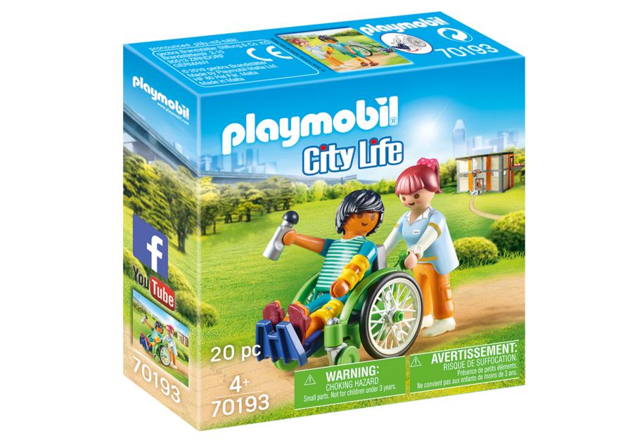 playmobil 70193 paziente con sedia a rotelle