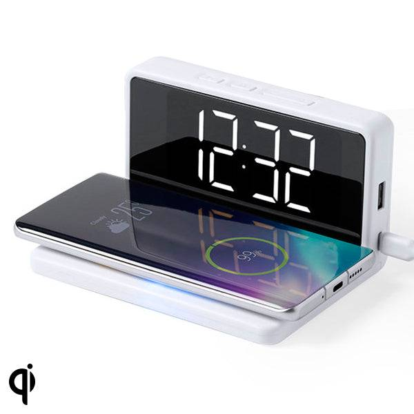 BigBuy Gadget Alarm Clock With Wireless Charger White 146512