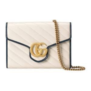 Gucci Mini borsa GG Marmont con catena Bianco