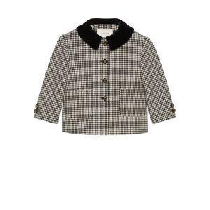 Gucci Mini giacca in lana pied de poule con fiocco Nero