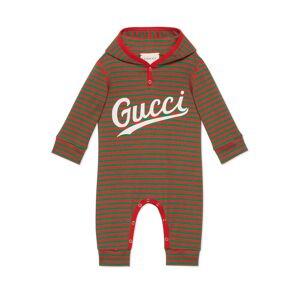 Gucci Tutina in cotone a righe con stampa Gucci Rosso