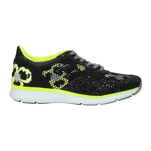 Hogan Sneakers Donna Tessuto Nero Giallo Fluo 35.5