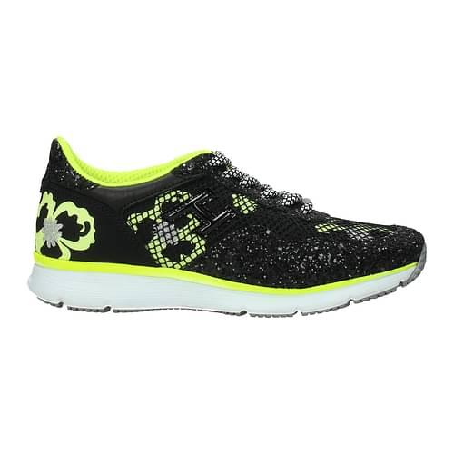 Hogan Sneakers Donna Tessuto Nero Giallo Fluo 35