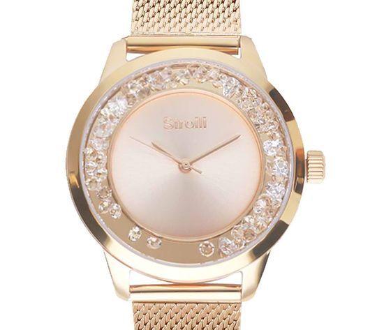 stroili orologio da polso solo tempo in acciaio e cristalli con cinturino in maglia gold rose