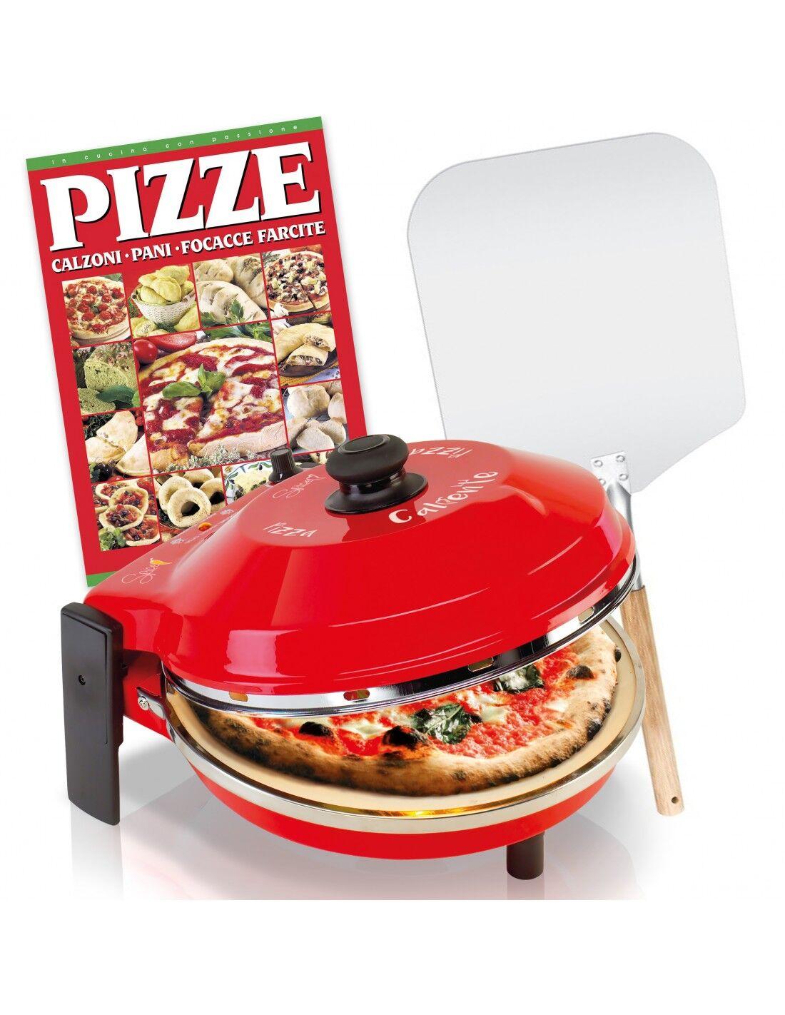 SPICE Electronics Set Fornetto pizza Caliente 1200 W + Pala Alluminio + Ricettario Pizze Calzoni Focacce e Pane