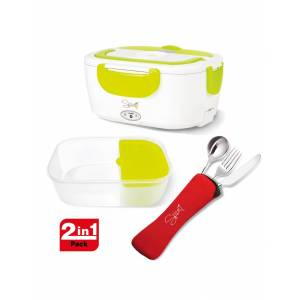 SPICE Electronics Scaldavivande elettrico Amarillo Easy verde acido con vaschetta in plastica + Set 3 posate