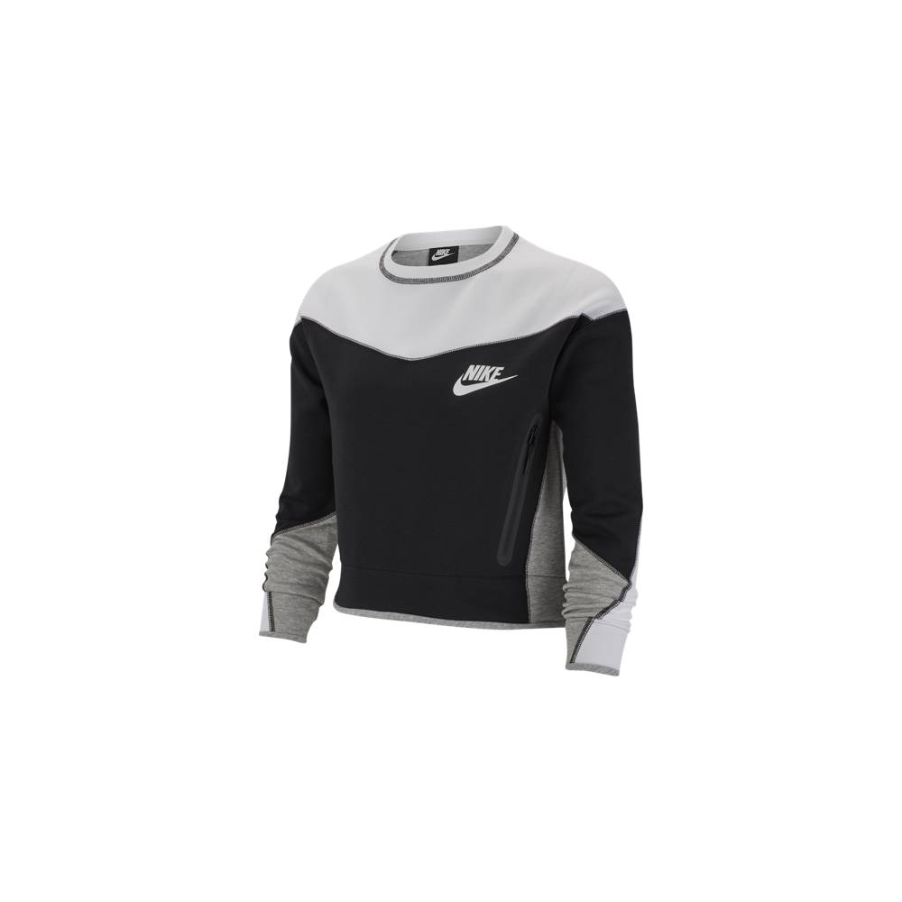 Nike Sportswear Felpa Girocollo Tech Fleece Nero Bianco Donna M