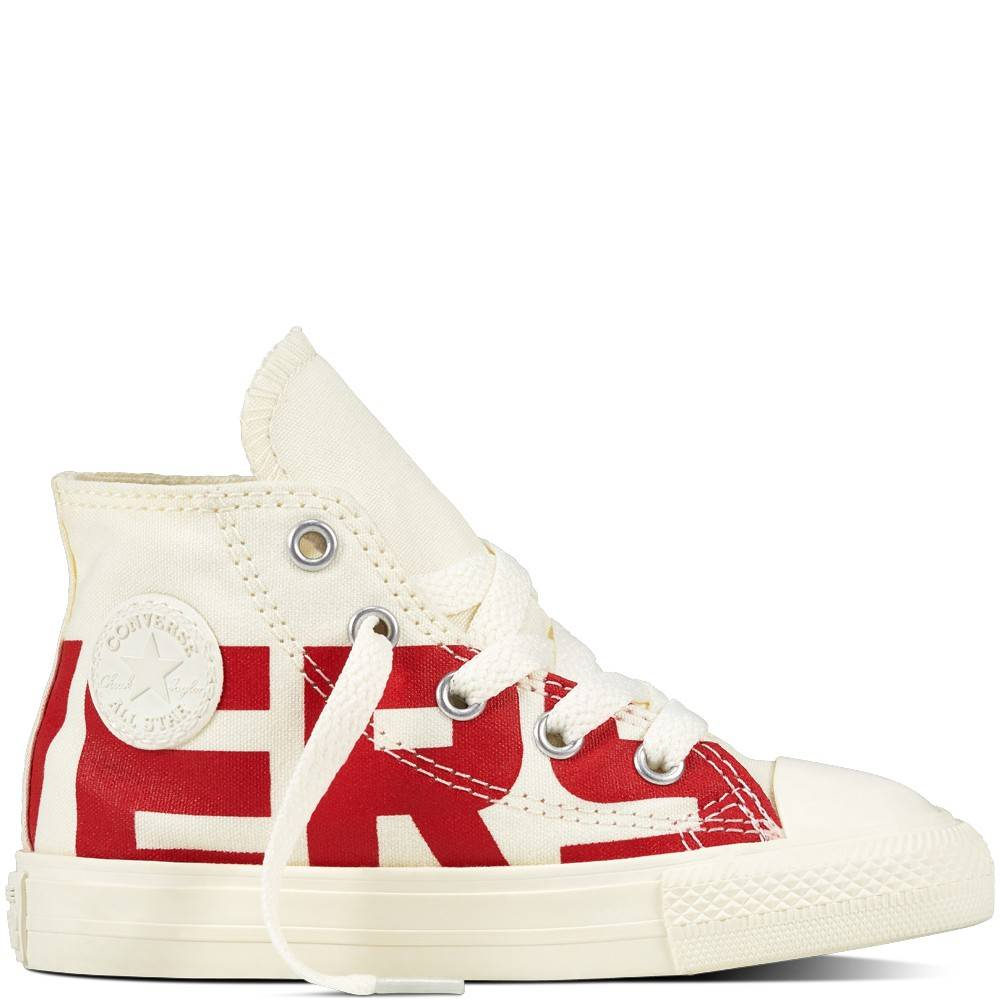 Converse Bambino Canvas Wordmark Hi Bianco/Rosso EUR 35
