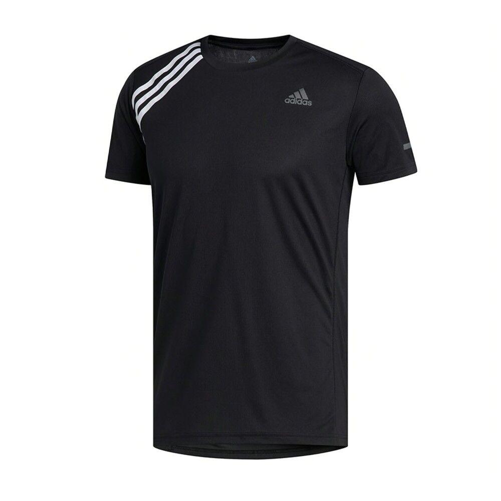 adidas maglia running 3 stripe nero bianco uomo s