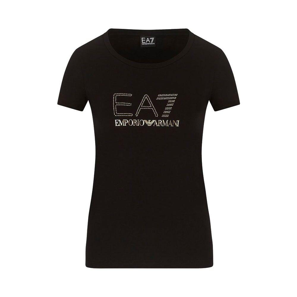 EA7 T-Shirt Mare Logo Strass Oro Nero Donna L