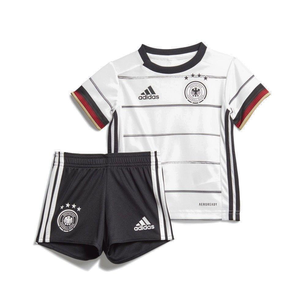 ADIDAS completo calcio neonato germany home bianco nero 12-18 Mesi