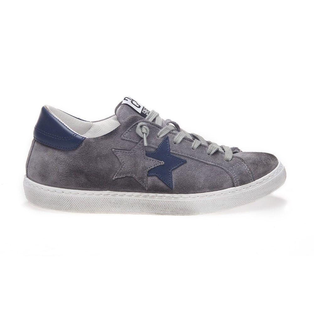 2Star Sneakers Low Lea Suede Grigio Blu Uomo EUR 42