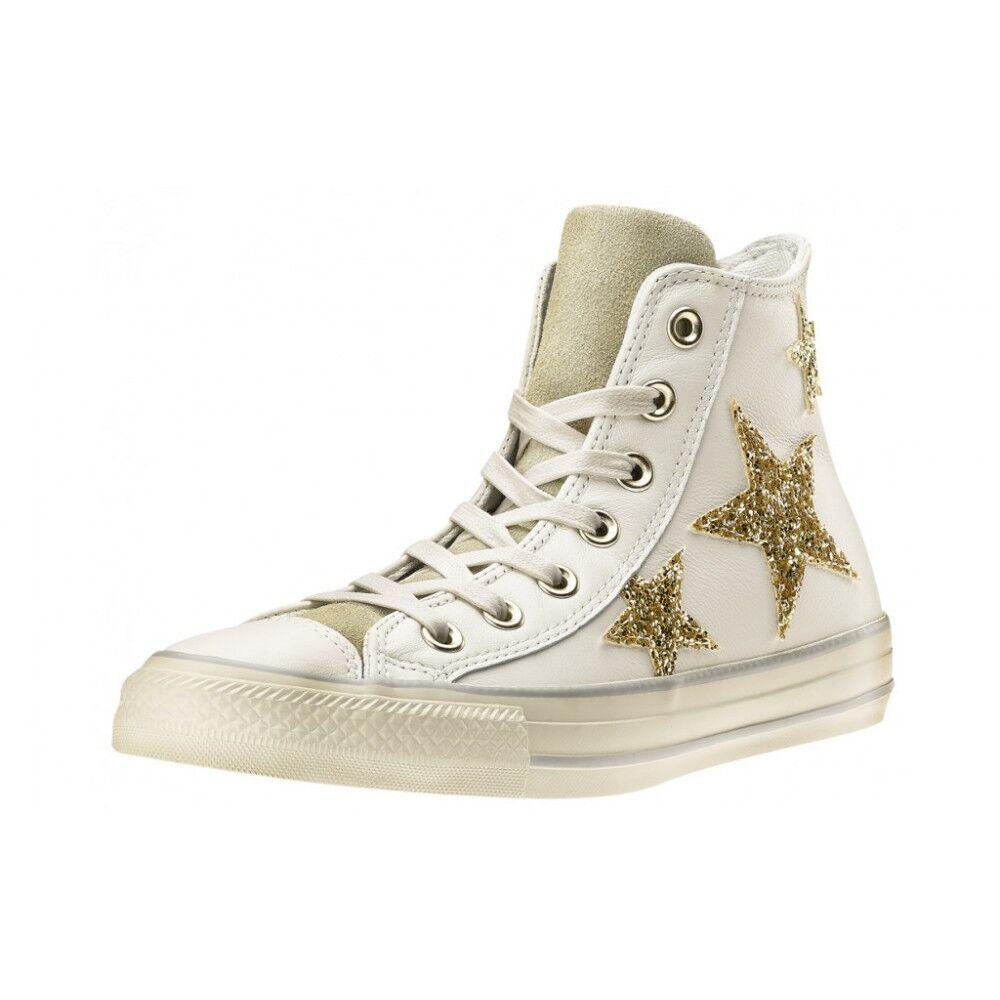 Converse Scarpa Donna Hi Glitters Stars Lea White/Gold EUR 36.5 / US 4