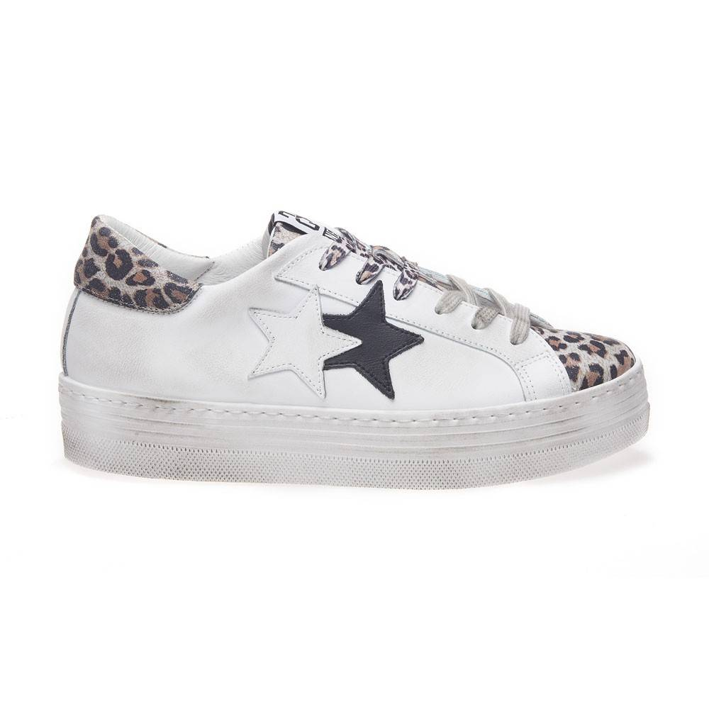 2Star Sneakers Low High Sole Bianco Maculato Donna EUR 39