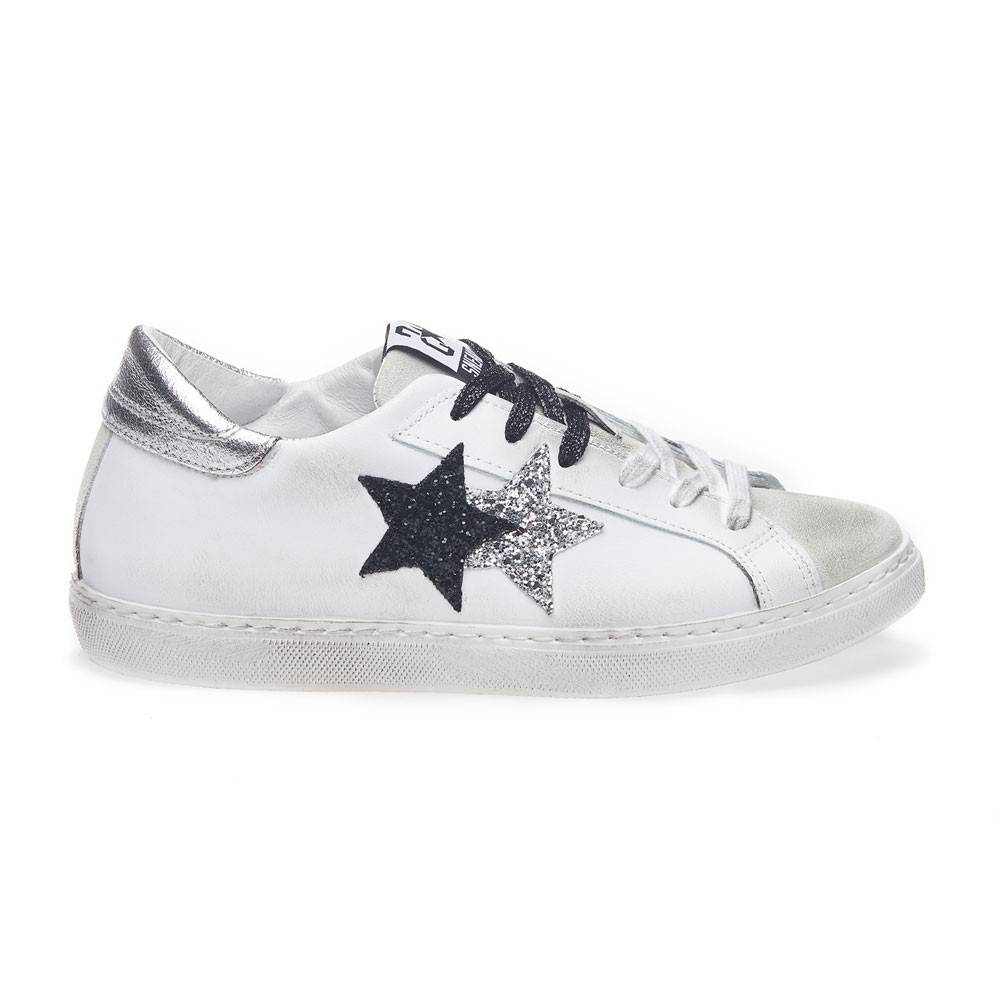 2Star Sneakers Low Lea Suede Bianco Nero Argento Donna EUR 37