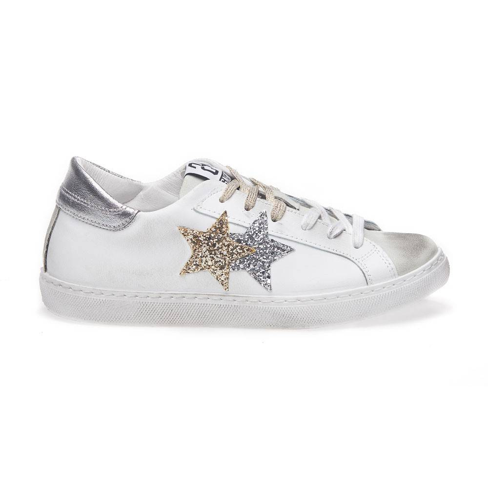2Star Sneakers Low Lea Suede Bianco Oro Argento Donna EUR 37