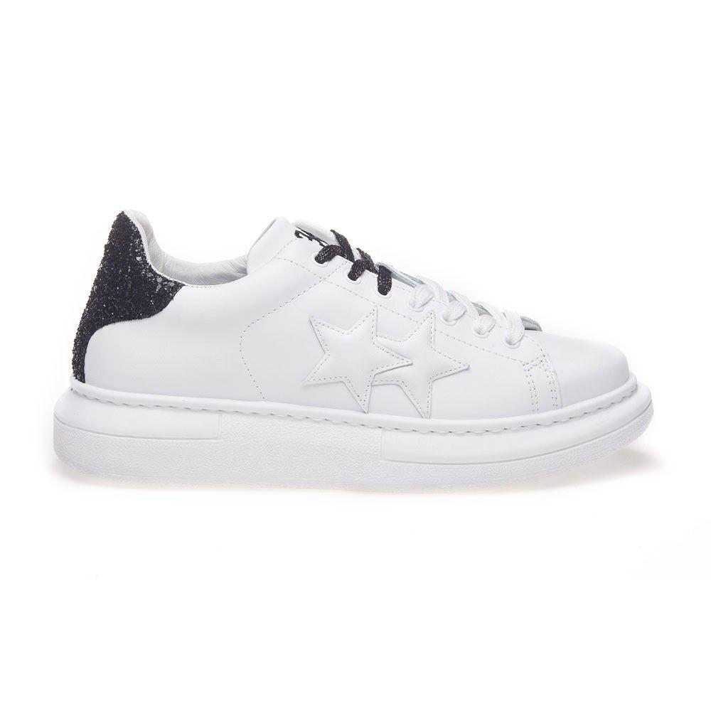 2Star Sneakers Princess Bianco Nero Glitter Donna EUR 38