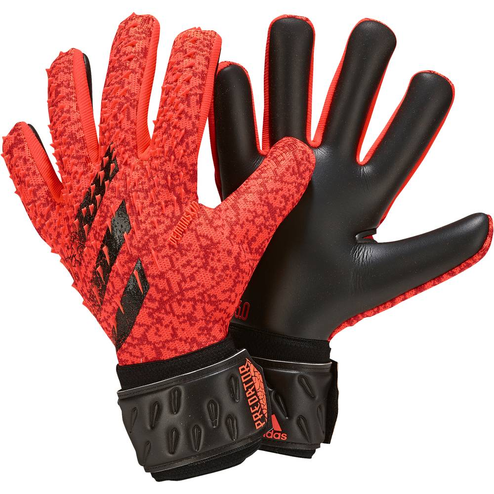 ADIDAS guanti calcio predator lge rosso nero uomo 8