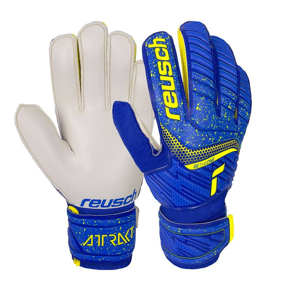 Reusch Guanti Calcio Attrakt Solid Blu Giallo Bambino 6,5 / XL / 18 cm