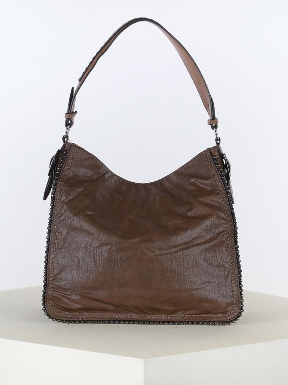 solada borsa con borchie borse a spalla donna marrone taglia unica