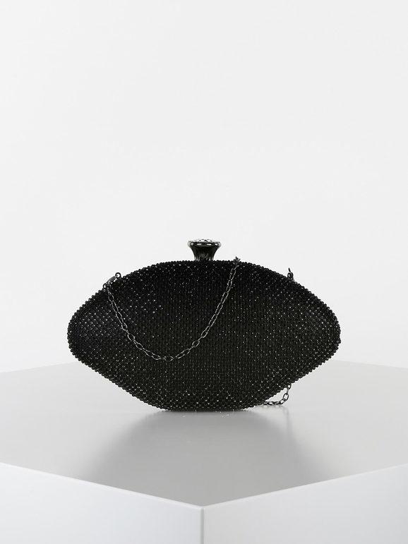 solada clutch ovale con strass pochette donna nero taglia unica