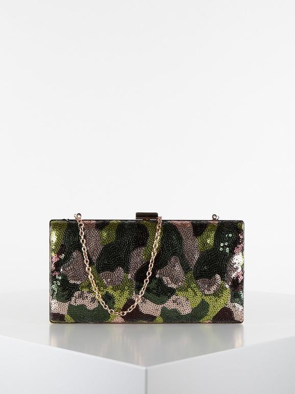 solada pochette con paillettes e motivo militare borse donna verde taglia unica