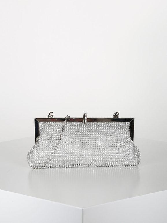 valentina pochette elegante con strass pochette donna argento taglia unica