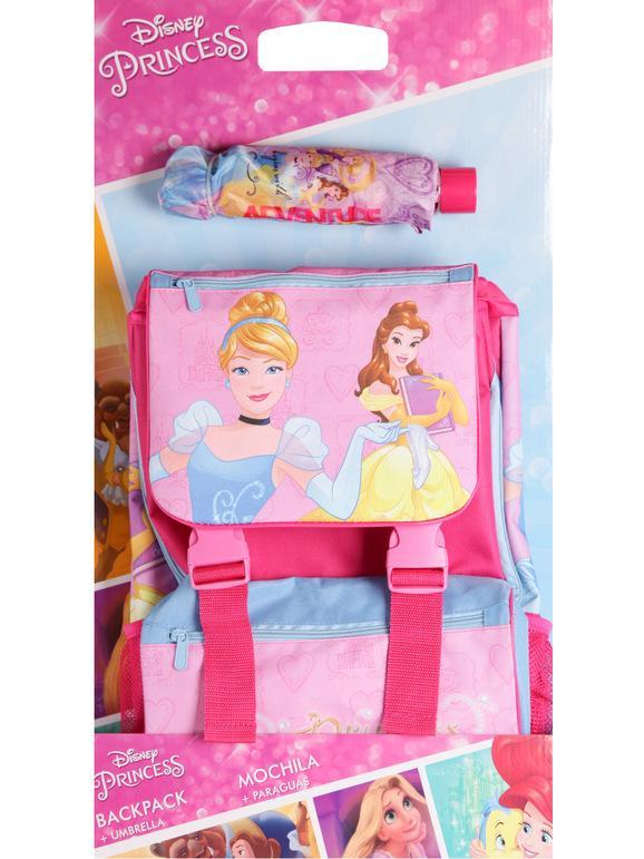 disney zaino scuola + ombrello principesse borse bambina blu taglia unica