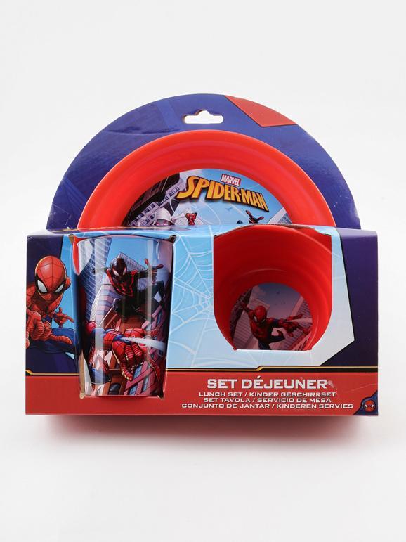 marvel set da tavola 3 pezzi con disegno spider-man accessori vari bambino rosso taglia unica