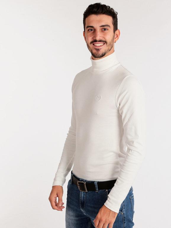 Be Board Dolcevita in cotone T-Shirt Manica Lunga uomo Bianco taglia M