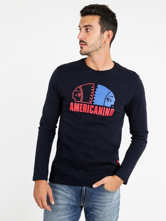 Americanino Maglietta uomo manica lunga T-Shirt Manica Lunga uomo Blu taglia XXL