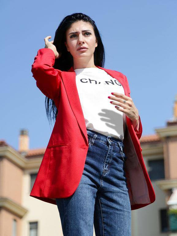 radaus blazer donna con bottone blazer donna rosso taglia 56