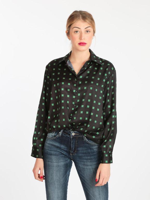 lumina camicia donna con stampe bluse donna nero taglia s
