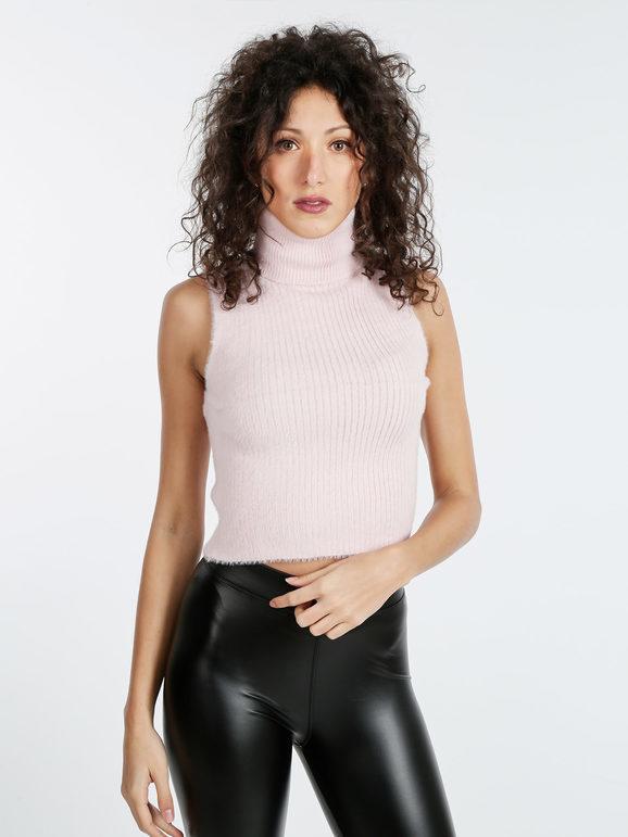 solada dolcevita smanicato peloso tops donna rosa taglia s/m