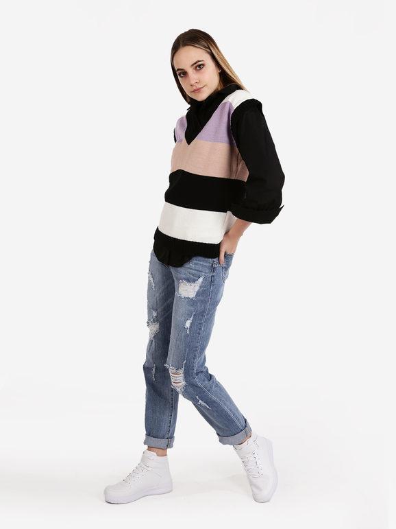 solada gilet donna in maglia a blocchi di colore maglioni donna nero taglia unica