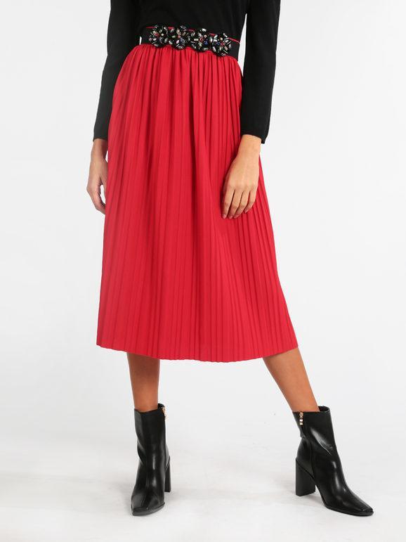 solada gonna plissettata gonne lunghe donna rosso taglia unica