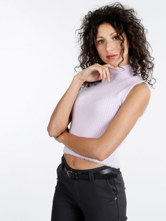 solada lupetto peloso smanicato da donna pullover donna viola taglia s/m