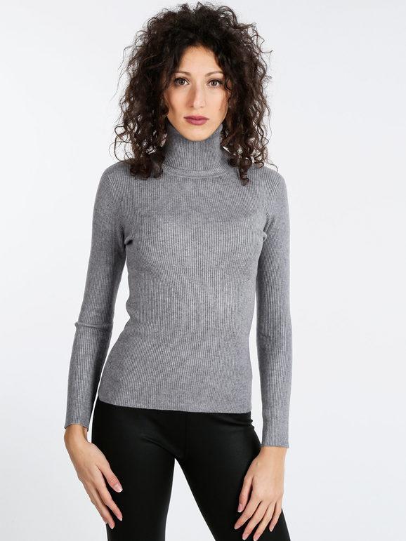 solada maglia dolcevita a costine da donna pullover donna grigio taglia unica