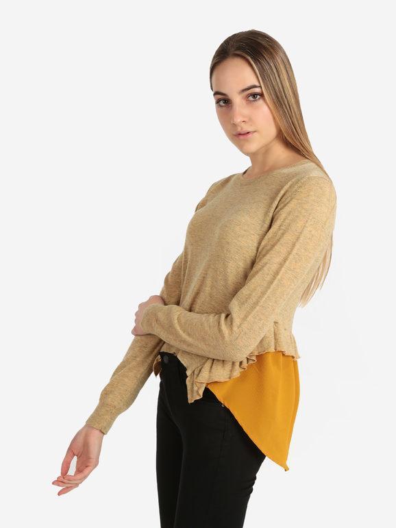 wendy trendy maglia donna tinta unita pullover donna giallo taglia unica