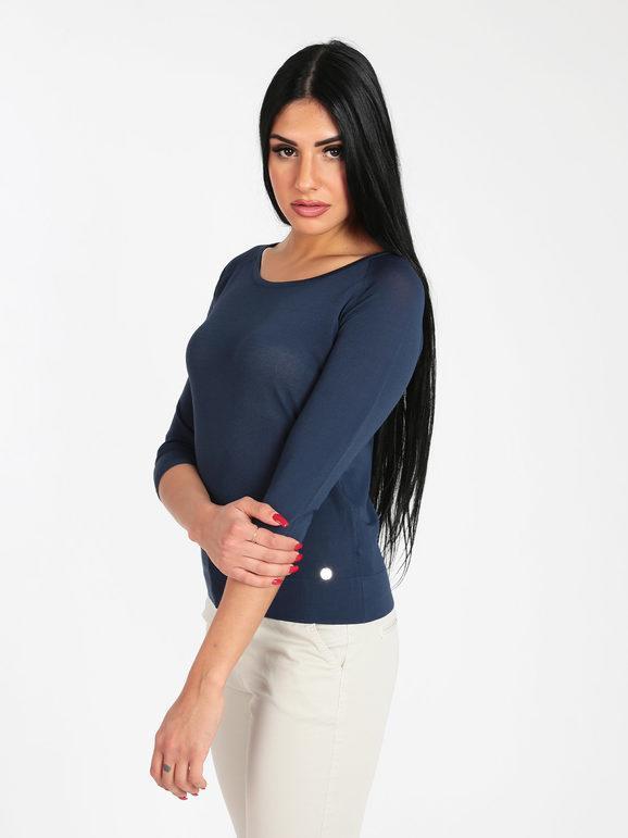 griffai maglia leggera con manica tre quarti pullover donna blu taglia s