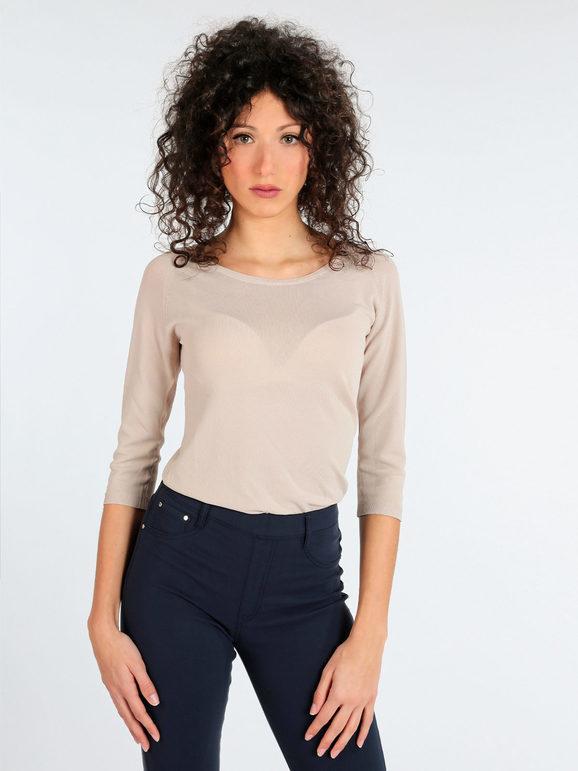griffai maglia leggera con manica tre quarti pullover donna beige taglia s