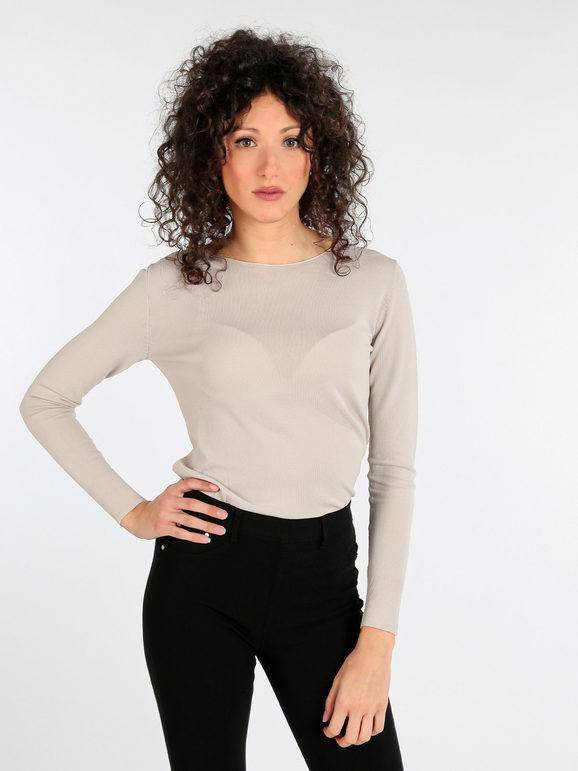 griffai maglia leggera semi trasparente pullover donna beige taglia s