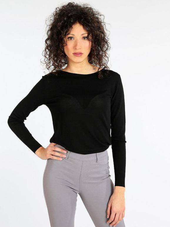 griffai maglia leggera semi trasparente pullover donna nero taglia l