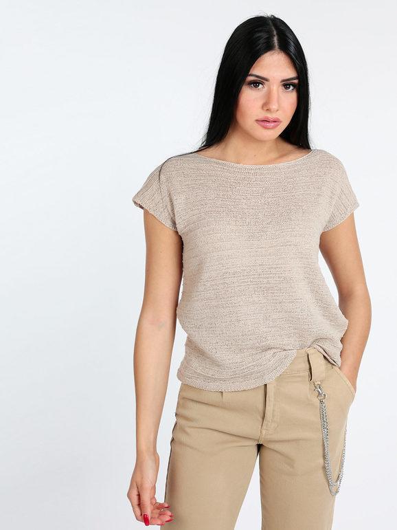 griffai maglia manica corta traforata t-shirt manica corta donna beige taglia s