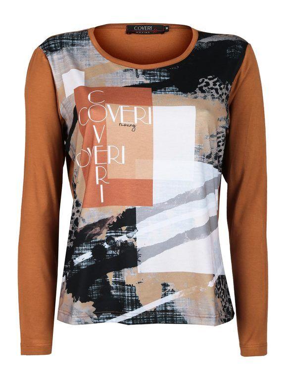 coveri maglietta donna con stampa t-shirt manica lunga donna marrone taglia m